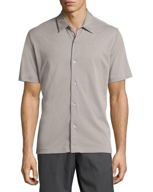 Theory | Natural Air Pique Short-sleeve Shirt for Men | Lyst