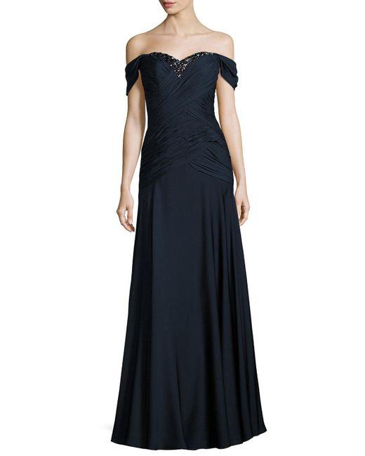 Helen Morley   Blue Embellished Off-the-shoulder Draped Georgette Gown   Lyst