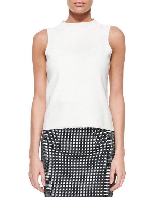 MILLY - Black Sleeveless Jersey Sweater - Lyst