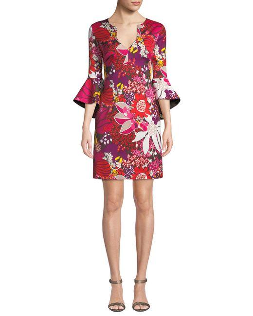 Trina Turk - Red Winnie Bell-sleeve Floral Mini Dress - Lyst