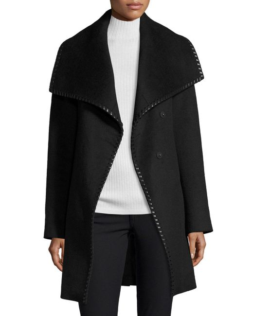 Elie Tahari - Black Wool-blend Wrap Coat W/ Whipstitched Leather Trim - Lyst