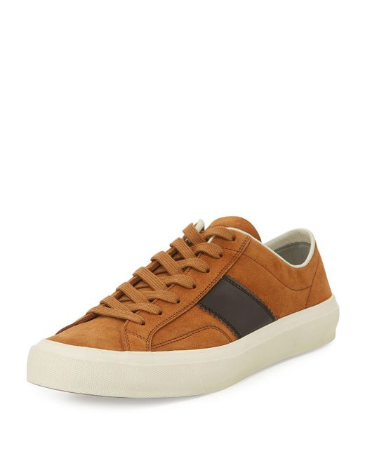Tom Ford - Brown Men's Cambridge Suede Striped Low-top Sneakers for Men - Lyst