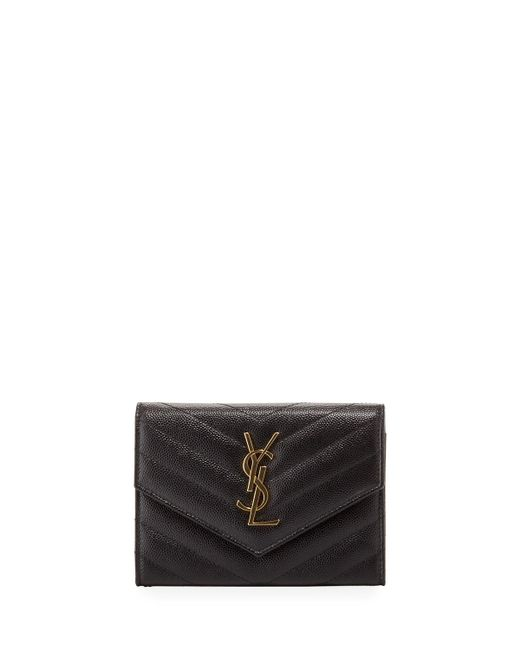 Saint Laurent | Black Small Quilted Passport Wallet for Men | Lyst