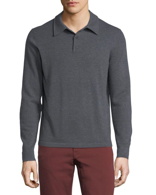 Neiman Marcus - Blue Cashmere Long-sleeve Polo Sweater for Men - Lyst