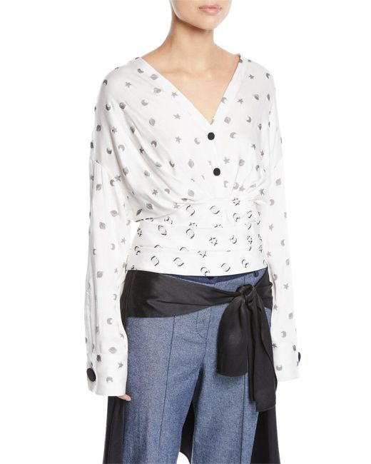 Hellessy - White Sphinx V-neck Cosmic-print Fil Coupe Blouse W/ Wobi Belt - Lyst