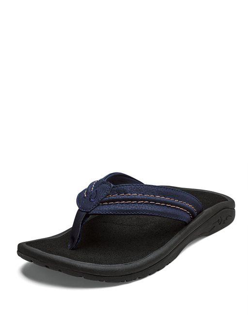 a80b9a7f253 Lyst - Olukai Men s Hokua Faux-leather Flip-flop Sandals in Blue for Men