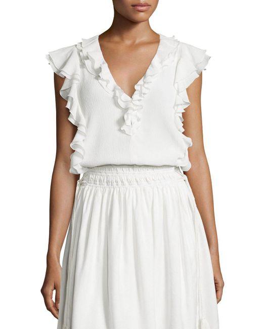 Apiece Apart   White Condesa Double-ruffle Sleeveless Top   Lyst