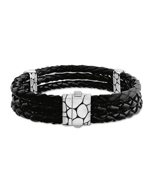 John Hardy - Kali Black Woven Leather Triple-row Bracelet - Lyst