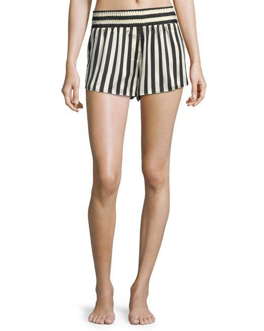 Morgan Lane | Blue Corey Striped Silk Pajama Shorts | Lyst