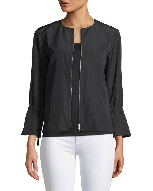Lafayette 148 New York - Black Johnsie Empirical Tech Cloth Zip Jacket - Lyst