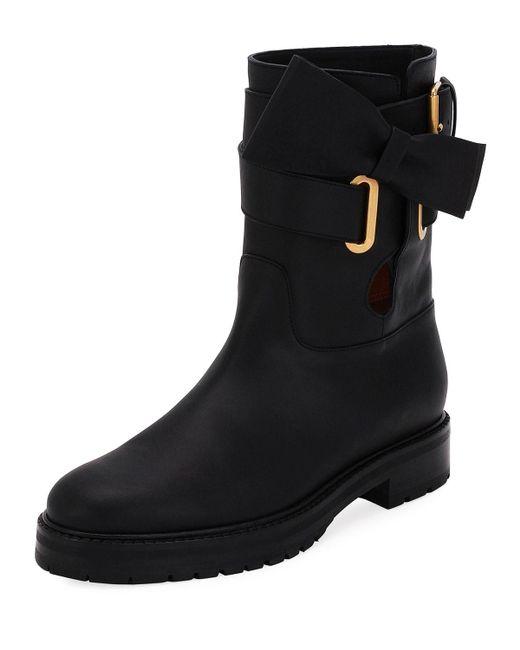 Valentino - Black Now Wrap Vitello Biker Boots - Lyst