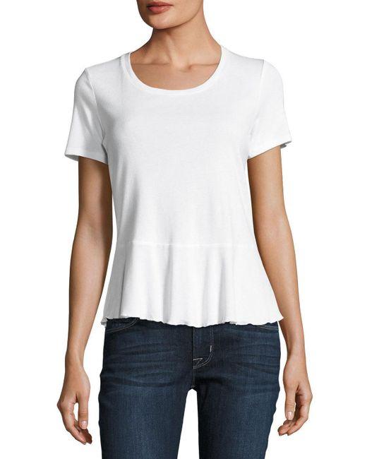 Splendid | White Crew-neck Short-sleeve Peplum Tee | Lyst