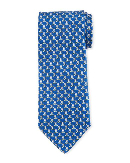 2628465b04d Lyst - Ferragamo Fufo Owl Printed Silk Tie Blue in Blue for Men