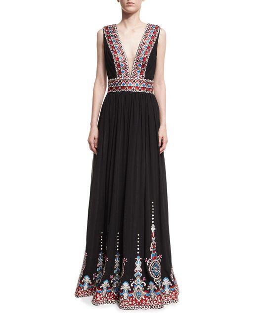 Jovani - Black Plunging V-neck Border-print Gown - Lyst