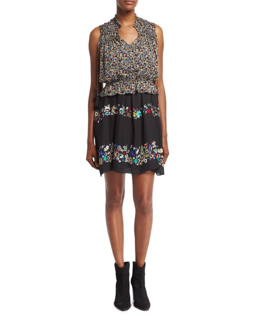 10 Crosby Derek Lam | Black 2-in-1 Floral Chiffon Mini Dress | Lyst