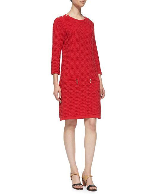 Joan Vass - Red Sand-stitched Zip-pocket Shift Dress - Lyst