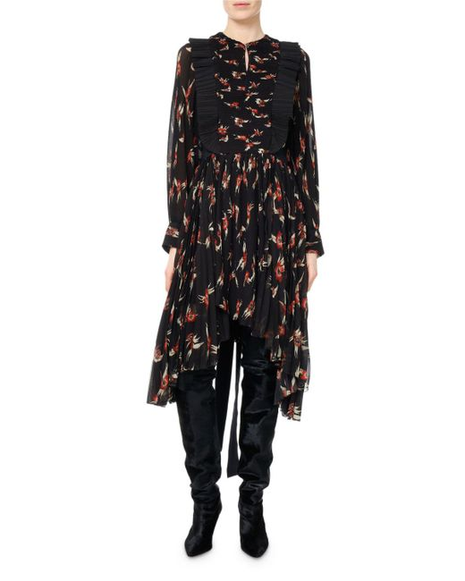 Isabel Marant - Black Wesley Birds Of Paradise Pleated Midi Dress - Lyst