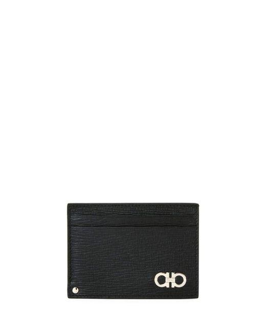 Ferragamo - Black Men's Revival Gancini Leather Card Case With Flip-out Id Window - Lyst