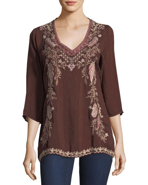 Johnny Was | Brown Ollie 3/4-sleeve Embroidered Blouse | Lyst