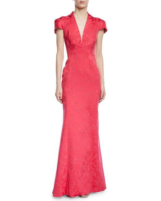 Zac Posen - Pink Party Jacquard V-neck Cap-sleeve Gown - Lyst