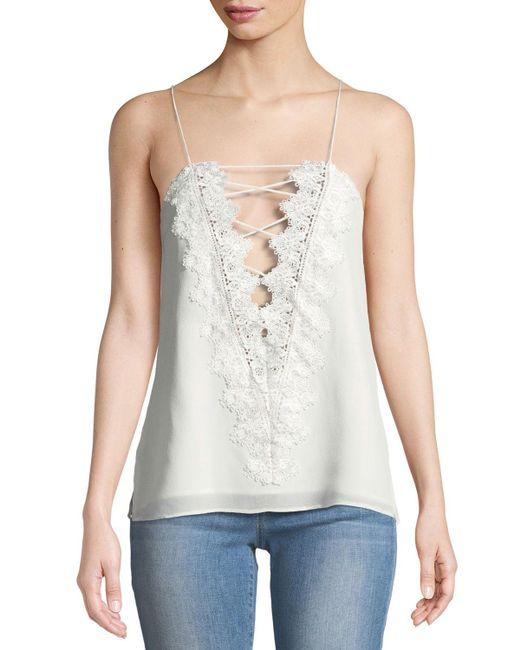 Cami NYC White The Charlie Lace-back Silk Crepe De Chine Tank