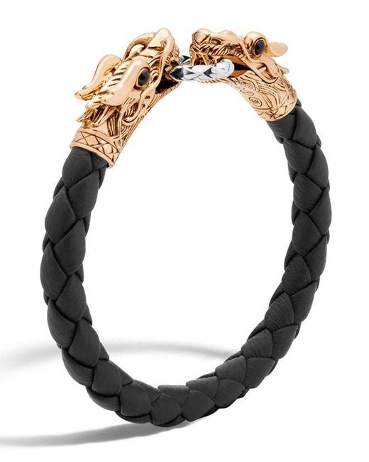 John Hardy - Black Legends Naga Dragon Leather Bracelet for Men - Lyst