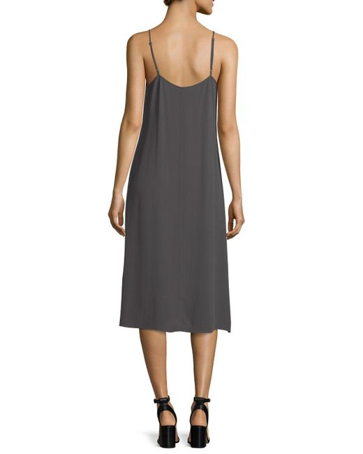 Eileen Fisher | Black Crinkled Crepe Camisole Dress | Lyst