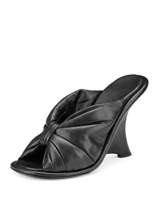 Balenciaga   Black Bow Leather Wedge Sandal   Lyst