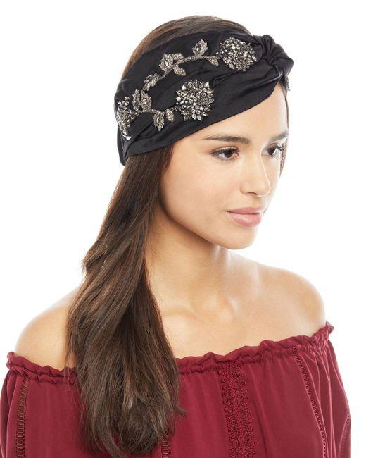 Jennifer Behr - Black Silk Satin Sirvat Turban Head Wrap - Lyst