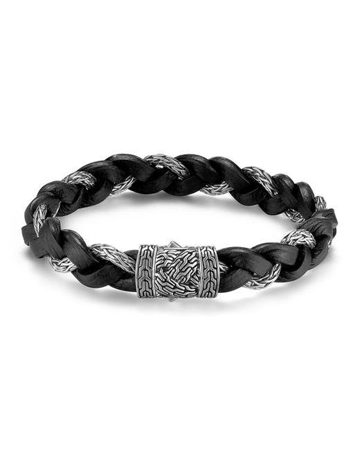 John Hardy - Metallic Men's Classic Chain Silver Braided Bracelet W/leather Cord for Men - Lyst