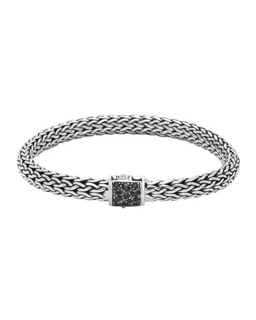 John Hardy   Metallic Men's Classic Chain Silver Lava Medium Bracelet With Black Sapphire for Men   Lyst