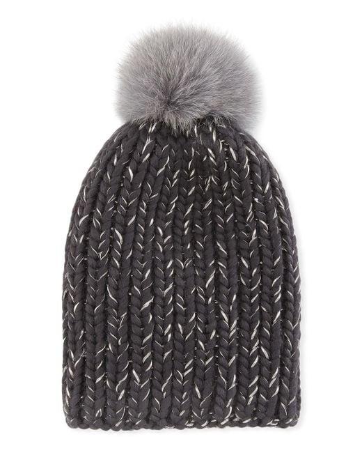 Eugenia Kim - Gray Rain Fur-pompom Beanie Hat - Lyst