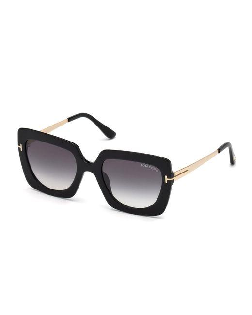 Tom Ford - Black Jasmine 02 Metal & Plastic Square Sunglasses - Lyst