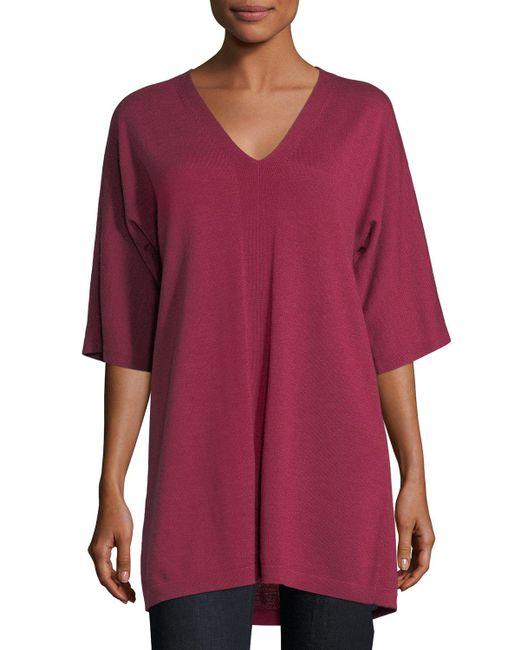 Eileen Fisher - Red V-neck Merino Jersey Tunic - Lyst