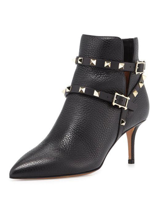 Valentino - Black 'rockstud' Leather Boots - Lyst