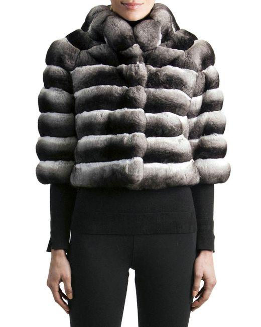 Gorski - Gray 3/4-sleeve Chinchilla Fur Jacket - Lyst
