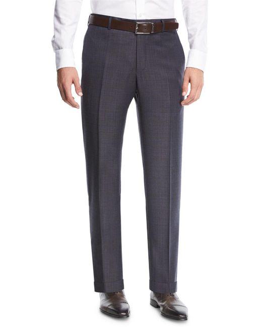 Zanella - Blue Parker Flat-front Grid-effect Sharkskin Trousers for Men - Lyst