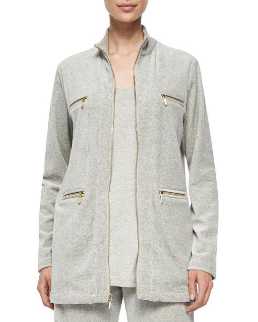 Joan Vass - Gray Velour 4-pocket Long Jacket - Lyst