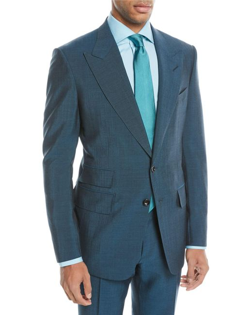 Tom Ford - Blue Textured Wool-blend Two-piece Suit for Men - Lyst