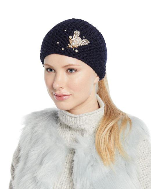 Jennifer Behr - Blue Embellished Bee Knit Head Wrap - Lyst