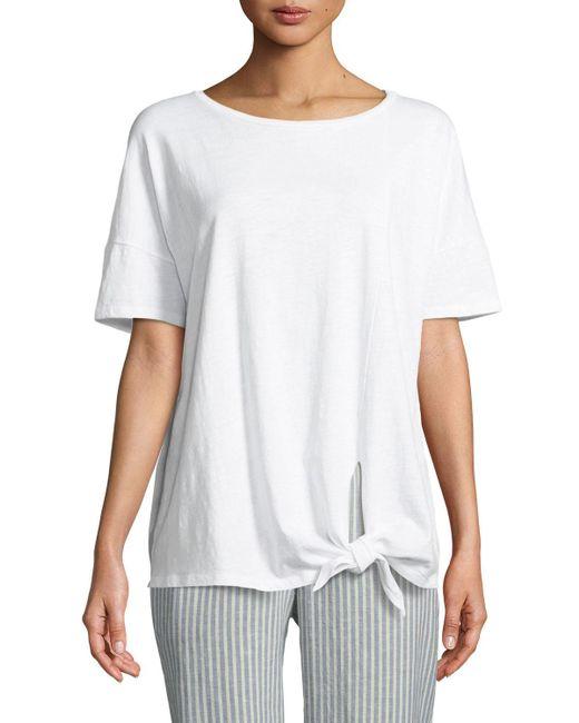 Eileen Fisher - White Tie-front Slub Tee - Lyst