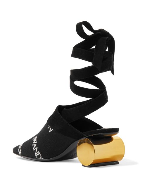 Suede-trimmed Logo-embroidered Canvas Pumps - Black J.W.Anderson 5siQDrJ