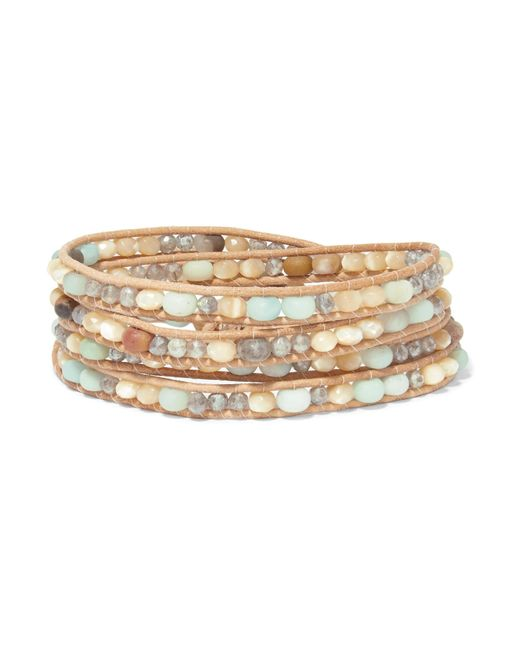 Chan Luu - Brown Leather And Silver-tone Multi-stone Wrap Bracelet - Lyst