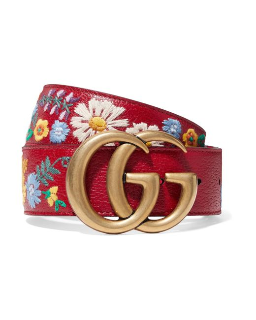 Gucci - Embroidered Textured-leather Belt - Lyst