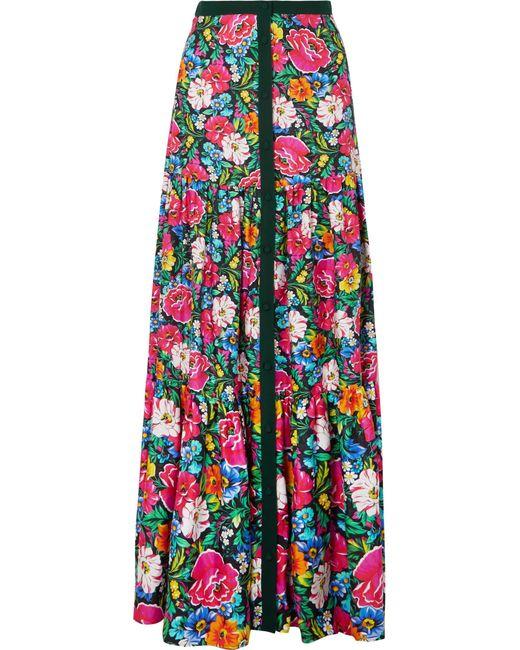 Mary Katrantzou - Pink Parakeet Floral-print Silk-twill Maxi Skirt - Lyst