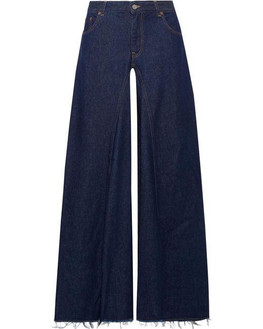 MM6 by Maison Martin Margiela   Blue Frayed High-rise Wide-leg Jeans   Lyst