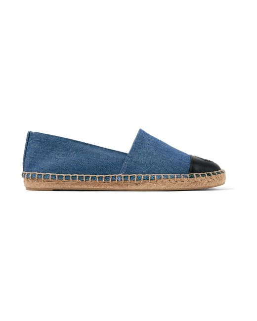 Tory Burch - Blue Logo-embroidered Leather-trimmed Denim Espadrilles - Lyst