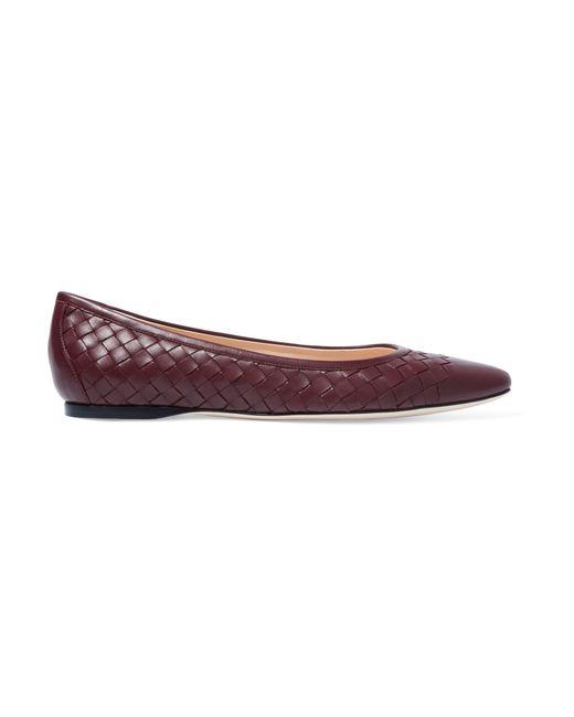 Bottega Veneta   Purple Intrecciato Leather Ballet Flats   Lyst