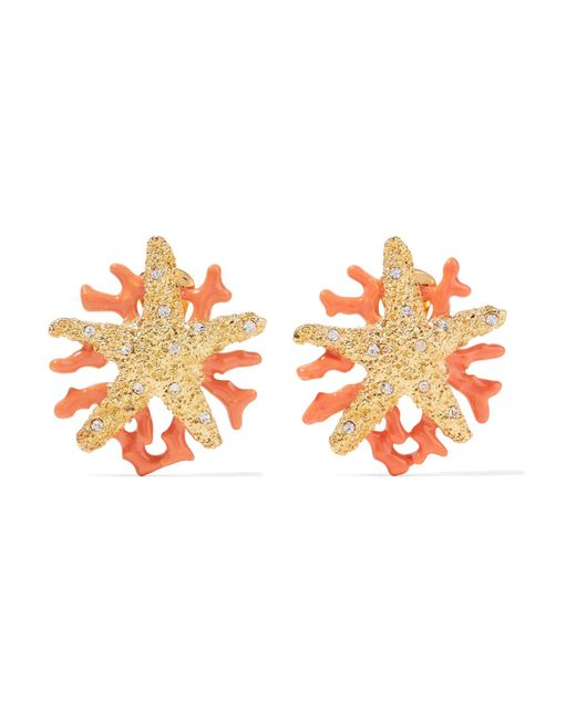 Kenneth Jay Lane - Metallic Gold-plated, Crystal And Enamel Clip Earrings - Lyst