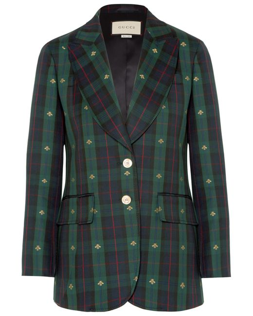 eea95e1266a Gucci - Green Embroidered Checked Wool Blazer - Lyst ...